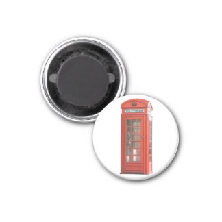 Red Phone Booth 1 Inch Round Magnet