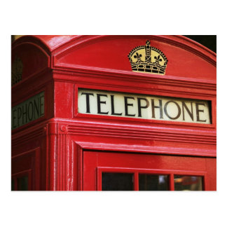 Red phone booth postcard