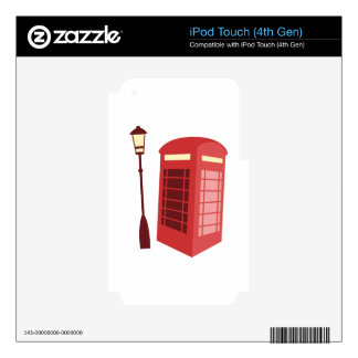 Red Phone Booth iPod Touch 4G Decals