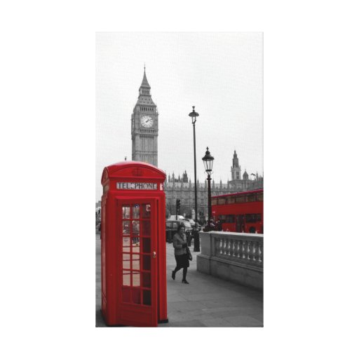 Red Phone box and London red bus Gallery Wrap Canvas