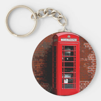 Red Phone Box London England UK Basic Round Button Keychain