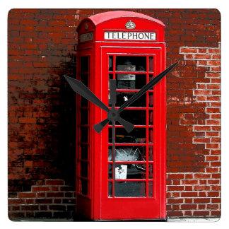 Red Phone Box London England UK Square Wall Clock