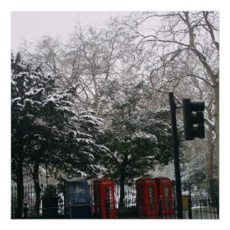 Red Phone Boxes in the Snow London Print Posters