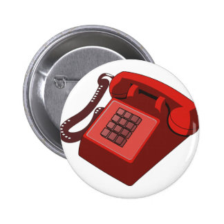 RED PHONE PINBACK BUTTON