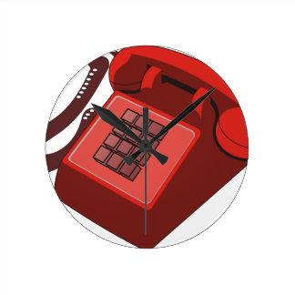 RED PHONE ROUND WALL CLOCKS