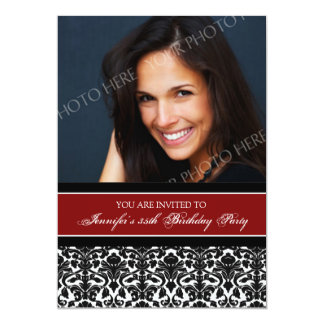 Red Photo 35th Birthday Party Invitations