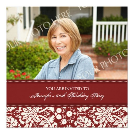 Red Photo 60th Birthday Party Invitations