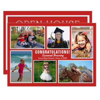 Red Photo Collage Graduation Open House Invitation