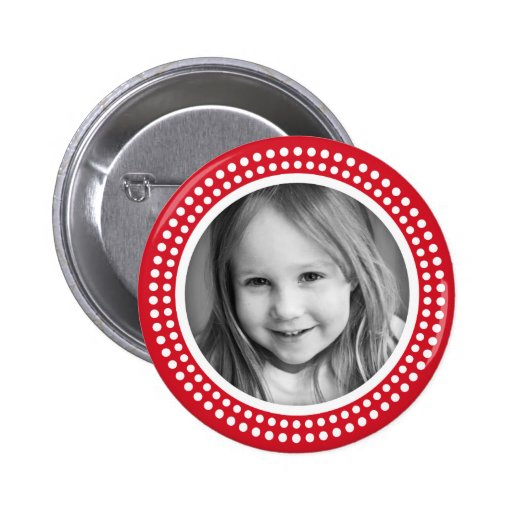 Red photo frame custom photograph personalized button