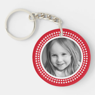 Red photo frame custom photograph personalized round acrylic keychain
