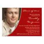 Red photo graduation party announcement invite