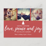 "Red Photo Love Peace and Joy Christmas Postcard<br><div class=""desc"">Beautiful red photo &quot;love, peace and joy&quot; Christmas greeting postcard. This card features a deep red photo design with white typography and the message &quot;Wishing everyone love, peace and joy this holiday season&quot;. All text is fully customizable and can be changed to your liking. For best results, crop your photos...</div>"
