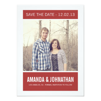 Red Photo Save The Date Announcements