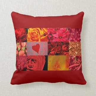 Red Photography Collage Throw Pillows