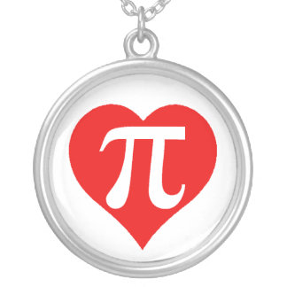 Red Pi Heart Round Pendant Necklace