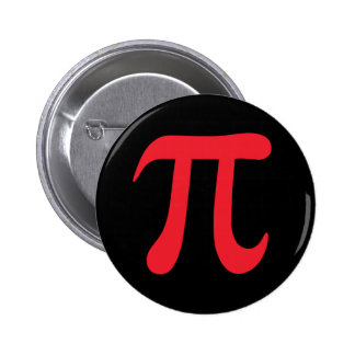 Red pi mathematical symbol on black pinback button