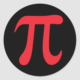 Red pi mathematical symbol on black stickers