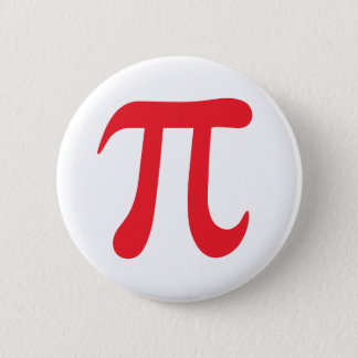 Red pi mathematical symbol on white pinback button