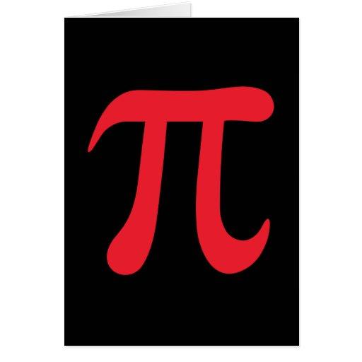 Red pi symbol on black background card   Zazzle