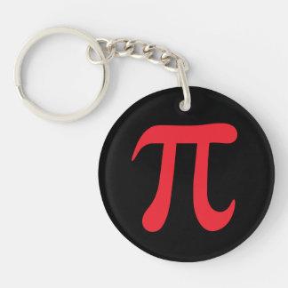 Red pi symbol on black background Single-Sided round acrylic keychain