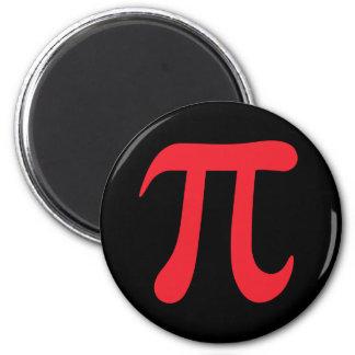Red pi symbol on black background refrigerator magnet