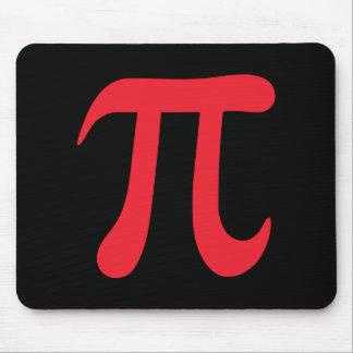 Red pi symbol on black background mouse pad