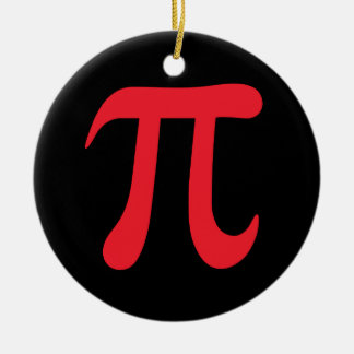 Red pi symbol on black background Double-Sided ceramic round christmas ornament