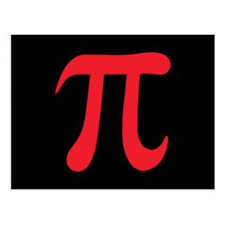 Red pi symbol on black background postcards