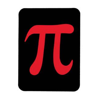 Red pi symbol on black background magnets