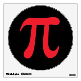 Red pi symbol on black background wall sticker