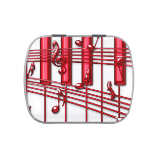 Red Piano Keyboard Candy Tin