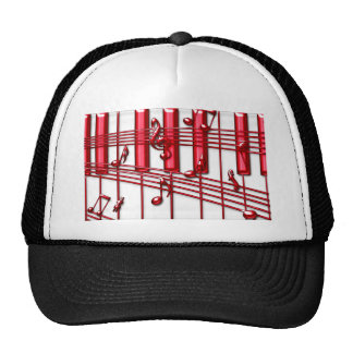 RED PIANO KEYBOARD HAT