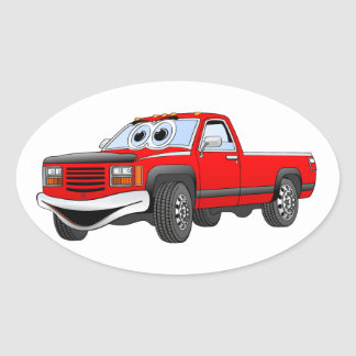Red Pick Up Truck Cartoon Oval Sticker