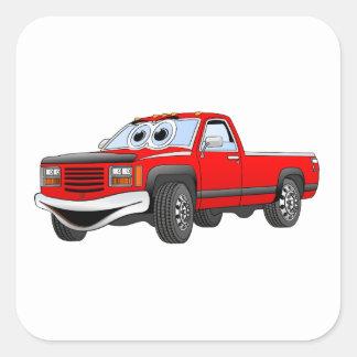 Red Pick Up Truck Cartoon Square Sticker