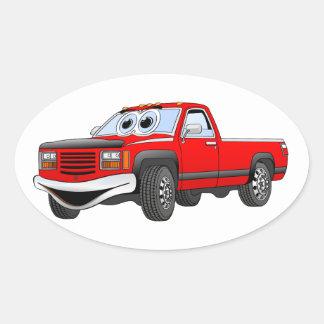 Red Pick Up Truck Cartoon Sticker