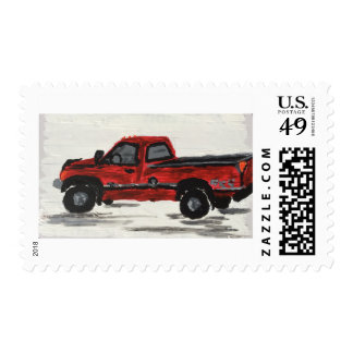 Red Pickup Truck Postage