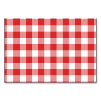 Red picnic checkers table cards