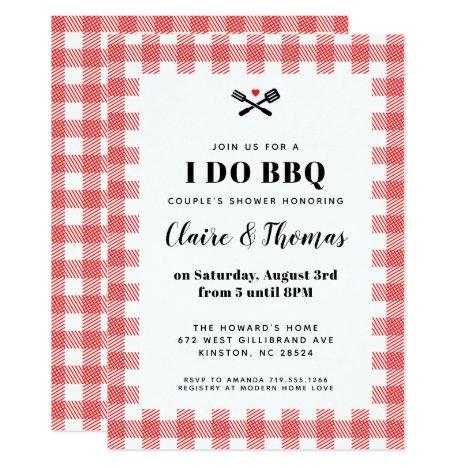 Red Picnic Plaid Cloth I Do BBQ Invitation