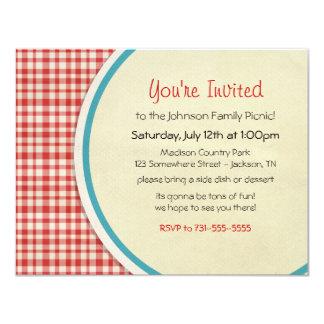 Red Picnic Plaid Family Picnic Invitations
