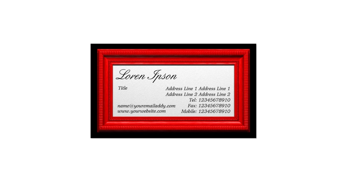 Red picture frame business card zazzle for Business card picture frame
