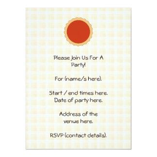 Red Pie. Strawberry Tart. Beige Check. 6.5x8.75 Paper Invitation Card
