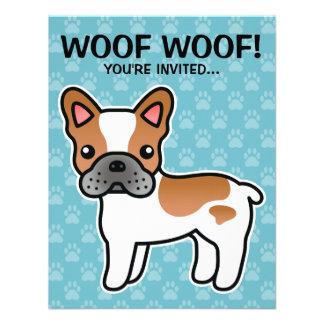 Red Piebald Cartoon French Bulldog Custom Invites
