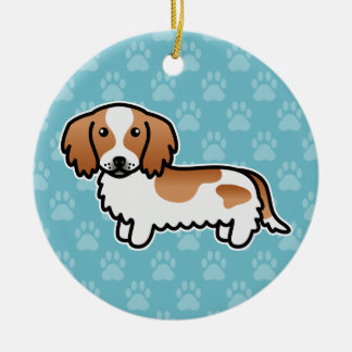 Red Piebald Long Coat Dachshund Cartoon Dog Ceramic Ornament