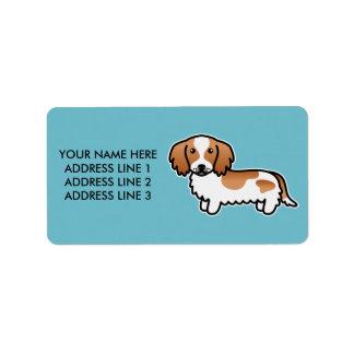 Red Piebald Long Coat Dachshund Cartoon Dog Label