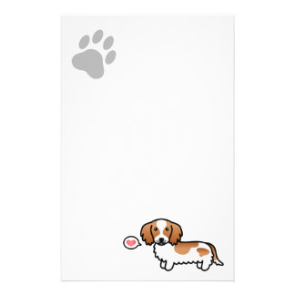 Red Piebald Long Coat Dachshund Love Stationery Paper