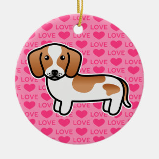 Red Piebald Smooth Coat Dachshund Cartoon Dog Ceramic Ornament