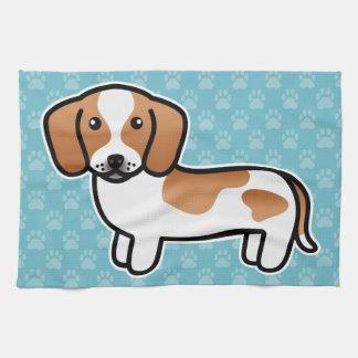 Red Piebald Smooth Coat Dachshund Cartoon Dog Kitchen Towel