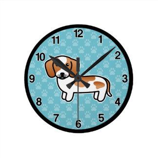Red Piebald Smooth Coat Dachshund Cartoon Dog Round Clock