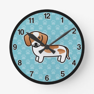 Red Piebald Smooth Coat Dachshund Dog Round Clock