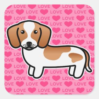 Red Piebald Smooth Coat Dachshund Love Square Sticker
